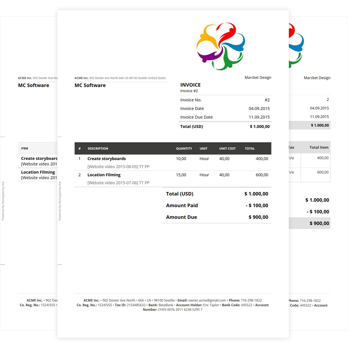 online invoice template to create professional invoices