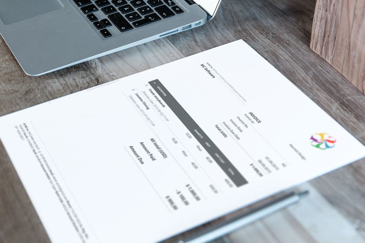 Recurring invoice generated by MoneyPenny software