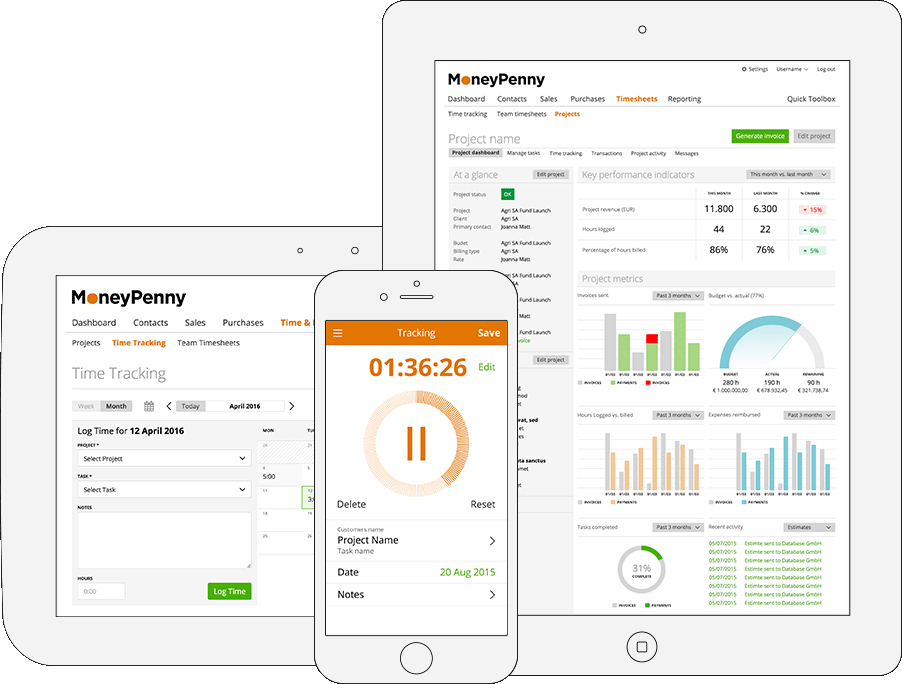 MoneyPenny Rechnungsprogram on destop, tablet and mobile