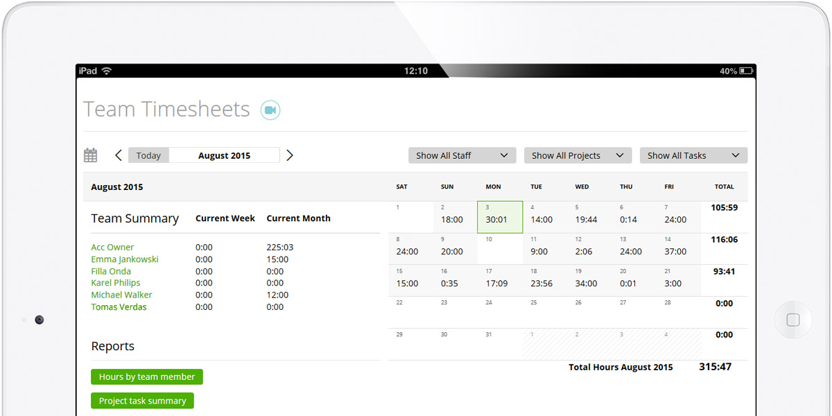 MoneyPenny time tracking and billing software on iPad