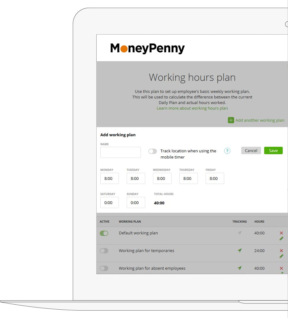 Moneypenny.me Working hours plan