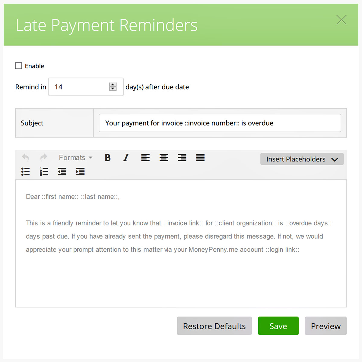Payments reminder