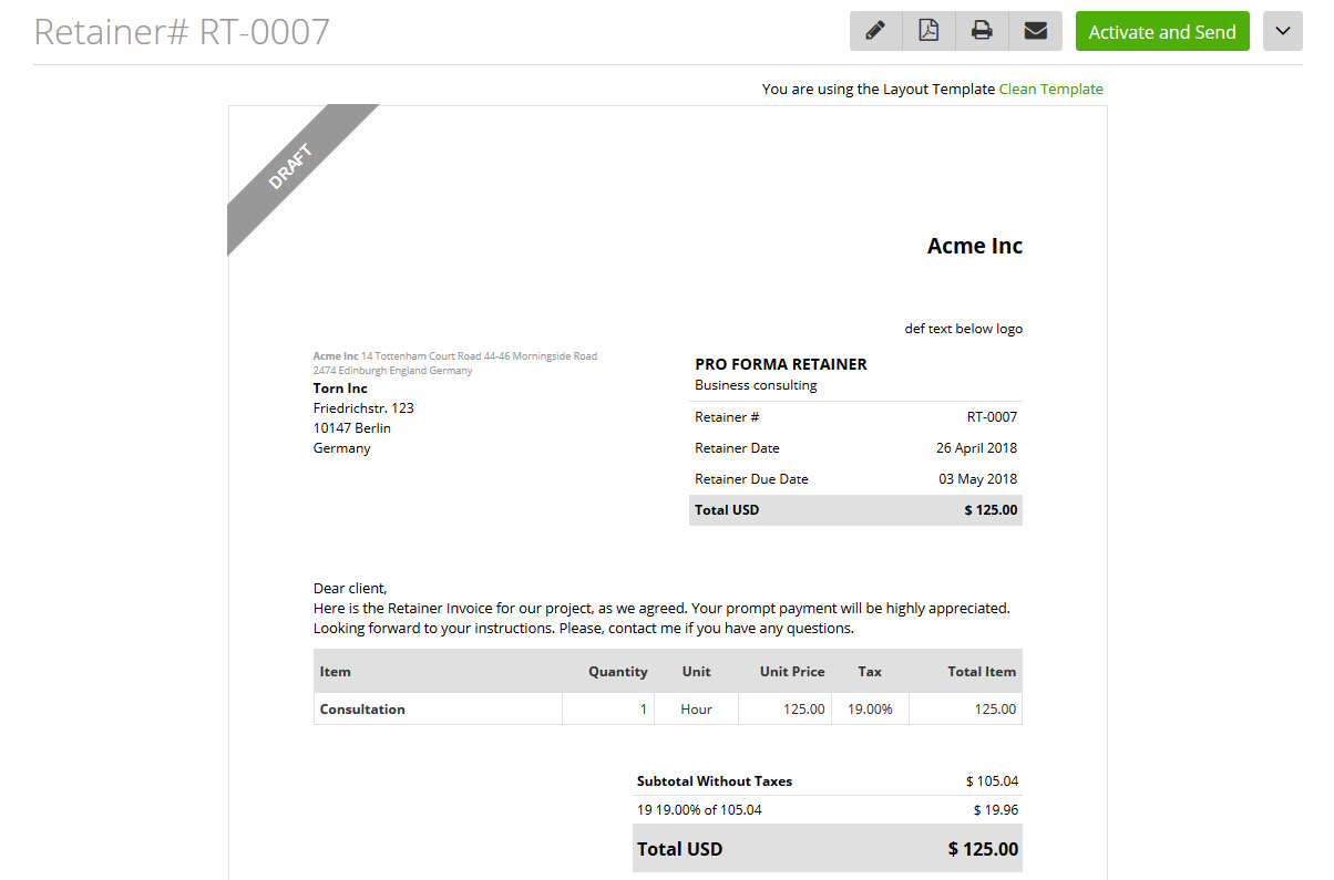 Retainer invoice template