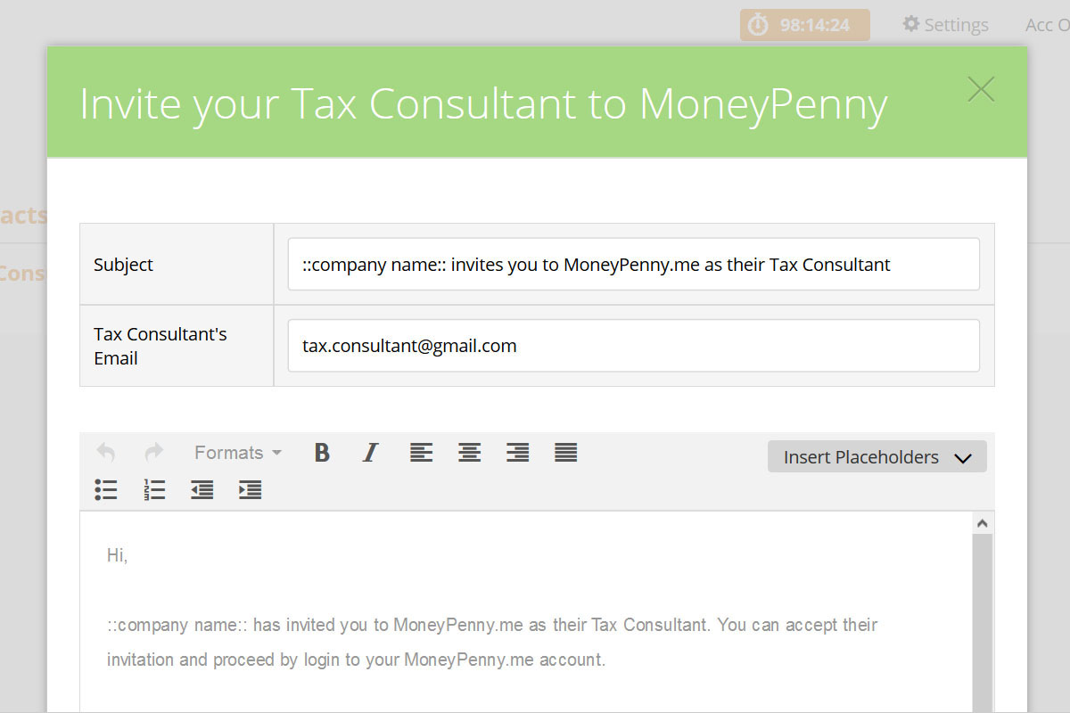 Tax consultant invitation to help work smarter