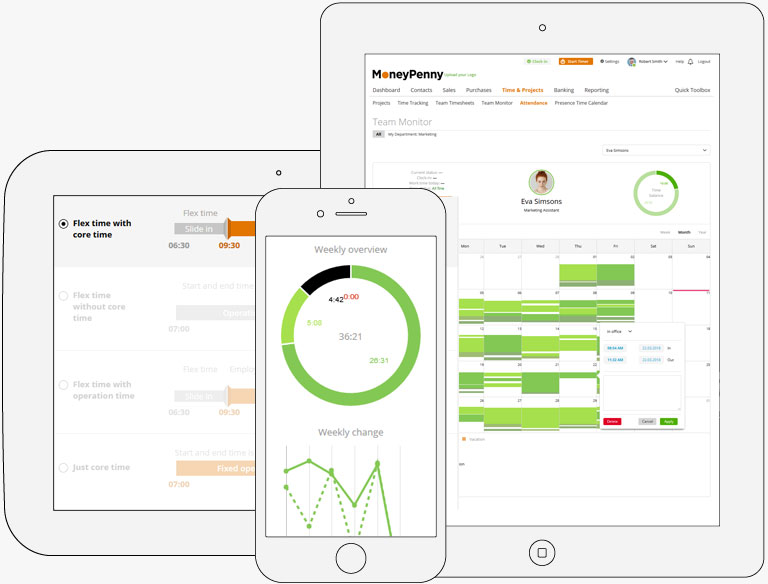 Moneypenny.me time and attendance apps on desktop, tablet and mobile