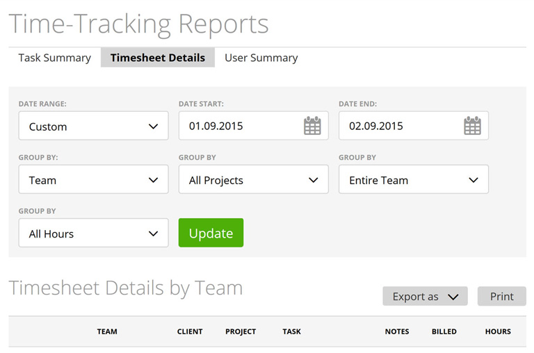 Rapport time-tracking instantané