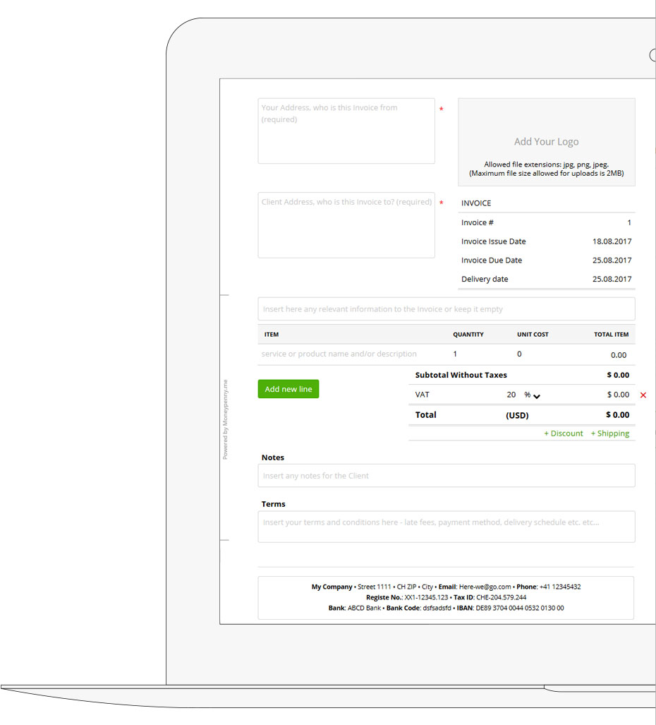 Blanc Invoice template on desktop