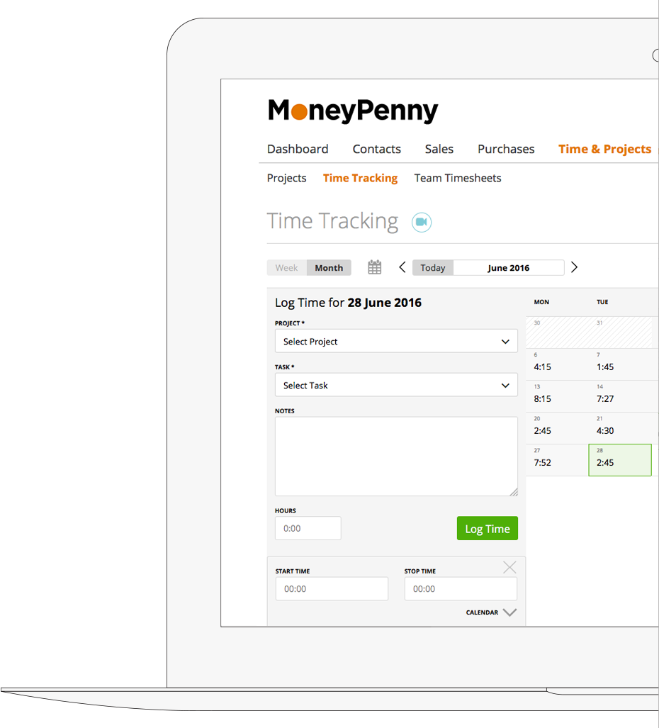 Screen from MoneyPenny Business Management Software