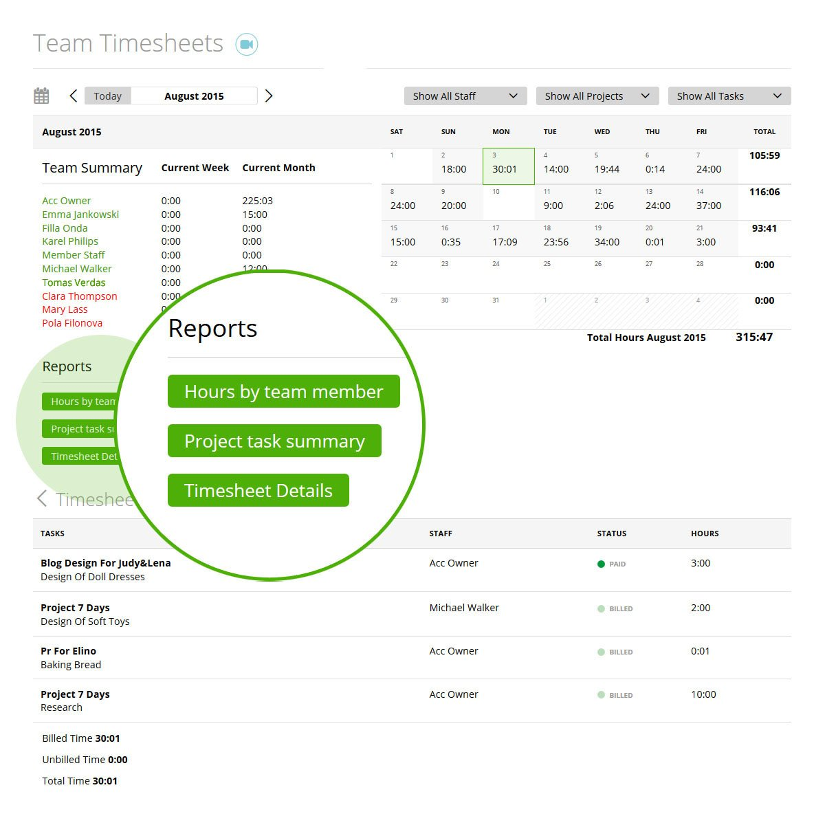 Work hours calculator with team timesheet